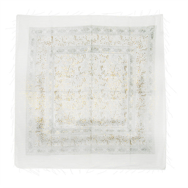 Light Weight Cotton Scarf (White w/Black Brown)