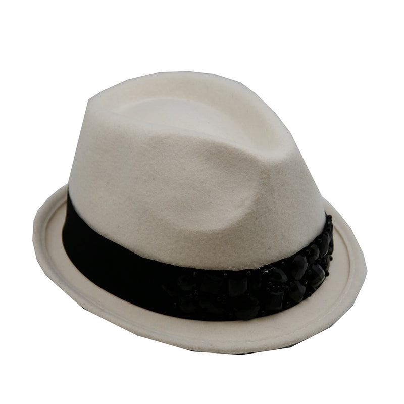 Hat Short Brim Fedora With Jeweled Trim - Colors : Black / White