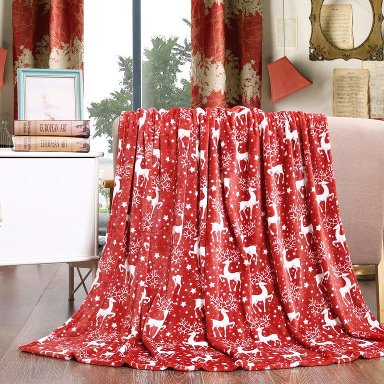 "Velvet Touch Christmas Fleece Throw 50""x60"" Banded - Red Reindeer"