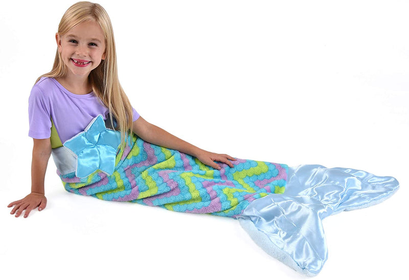 Snuggie Tails Velveteen Blanket Blue Mermaid DLX - In Polly Bag
