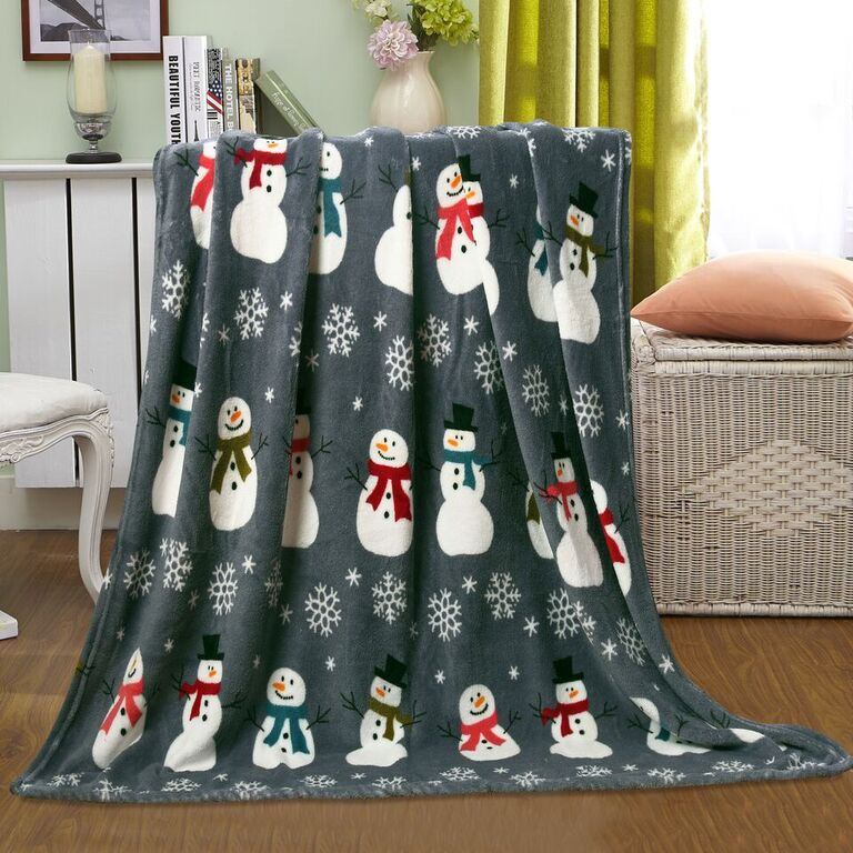 "Noblehouse Velvet Touch Christmas Fleece Throw 50""x60"" Banded - Gray Snowman"