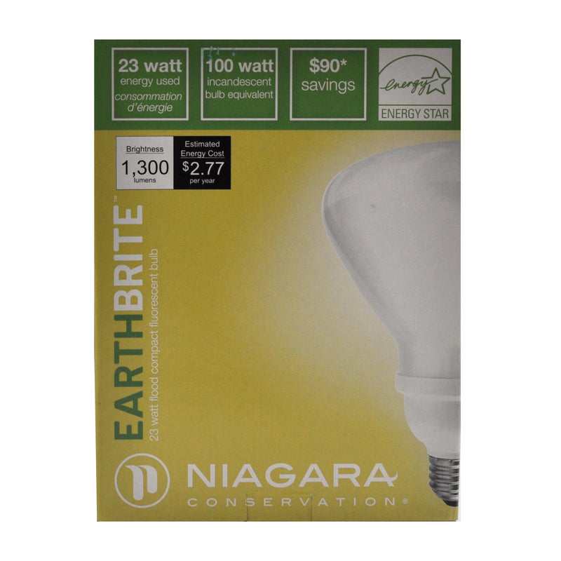 Niagara Conservation Earth Brite Flood Compact Fluorescent Bulb 23 Watt 100 Watt Equivalent Brightness 1,300 lumens