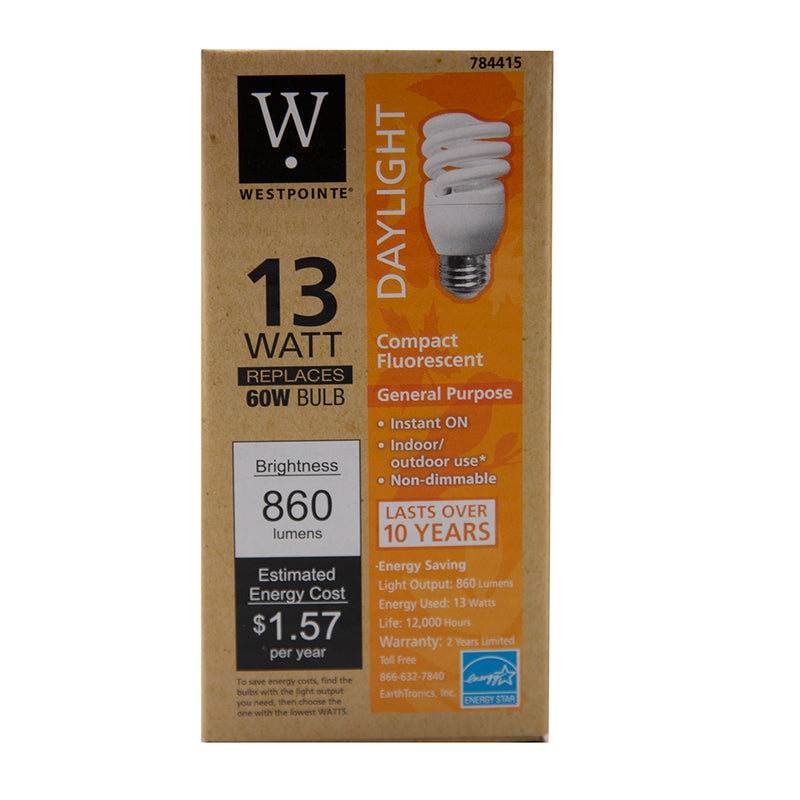 Weatpointe- 13W T2 Daylight compact Fluorescent mini Bulb