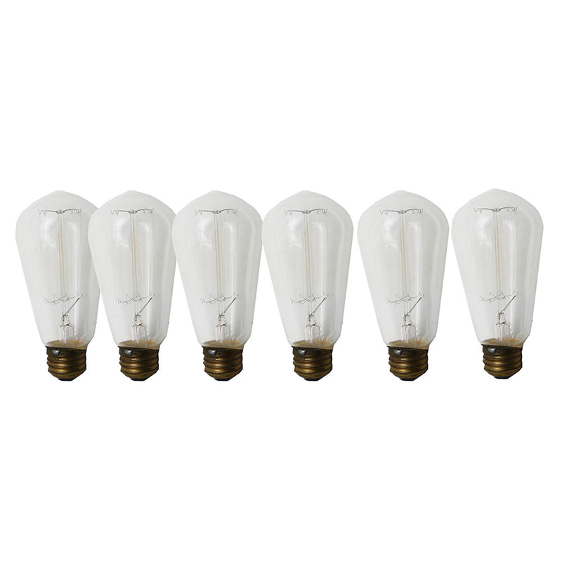 Incandescent Vintage Edison 60W , S60 120V 6 Pk 15 Filaments Medium Base