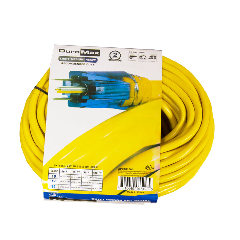 DuroMax XPC10100C 100 Foot 10 Gauge Triple Tap Extension Power Cord