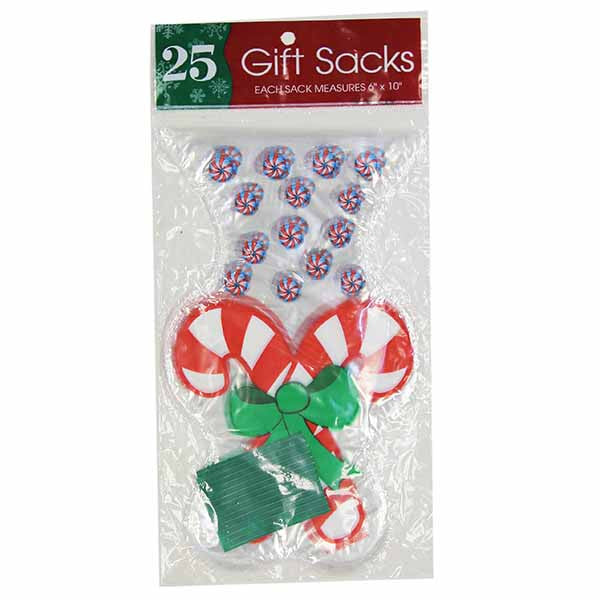 "Cello Plastic Gift Bags 6 "" X 10 "" Candy Cane - 25 Count"