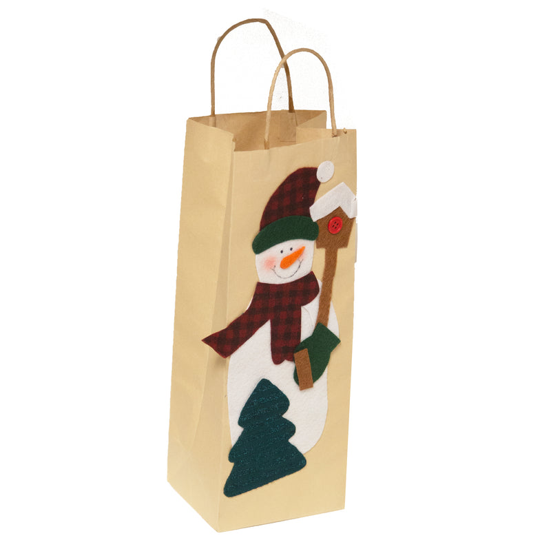 Brown Paper Gift Bag Snowman