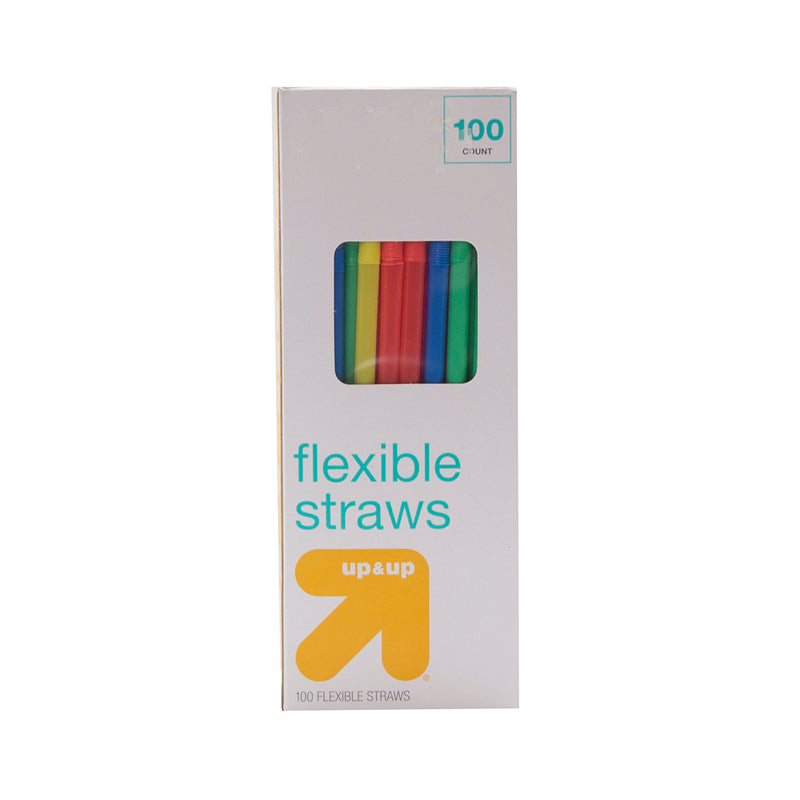 Up&Up Flexible Straws - 100assorted colors