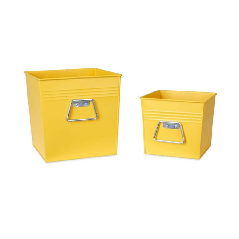 Decorative Metal Bin 2 pc Set , Medium And Small - Yellow