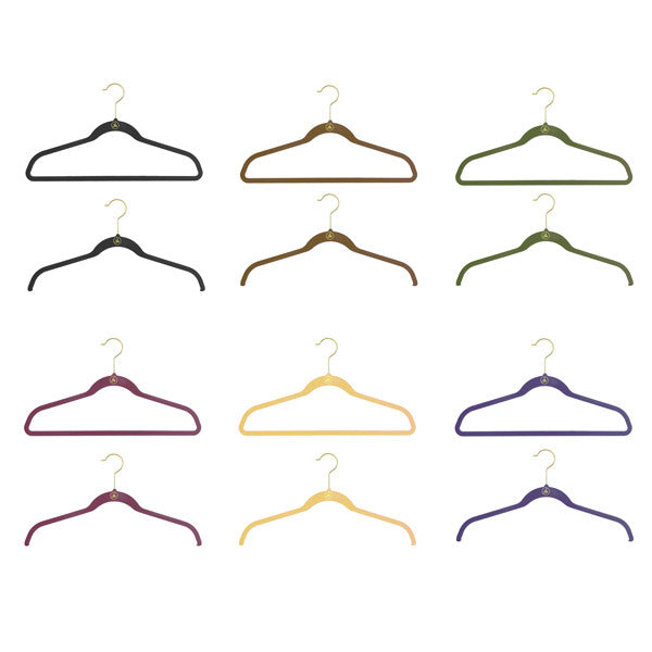 Asst Brass Joy Mangano Huggable Hangers-48 pcs/cs-(6) Asst Colors-Each Color Has (4) Female/(4)Male in Poly Bag w/ Tulle Drawstring Bag sold/priced by Case-MUSTARD/NAUTIC BLUE/BURGUNDY/ESPRESSO/OLIVE