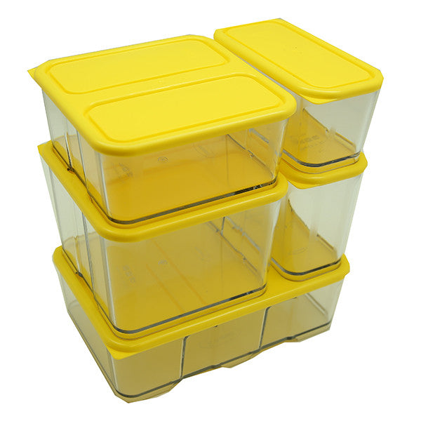 New Block System Storage Contaniers  (5pc Set) - Yellow