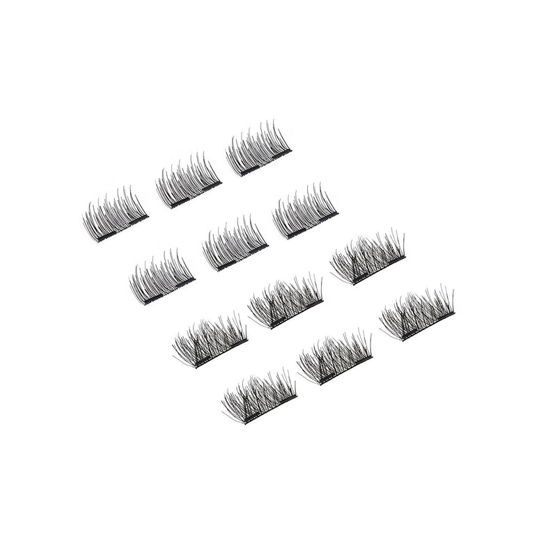 High Impact Magnetic Eyelashes 12 Pc 2 Compact Mirror Cases , Reusable Day & Night Lengths