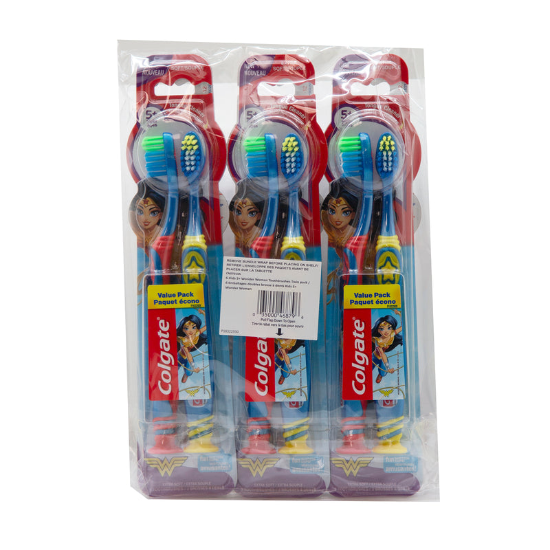 Colgate Kids Extra Soft Toothbrush With Suction Cup Twin Pack Wonder Woman