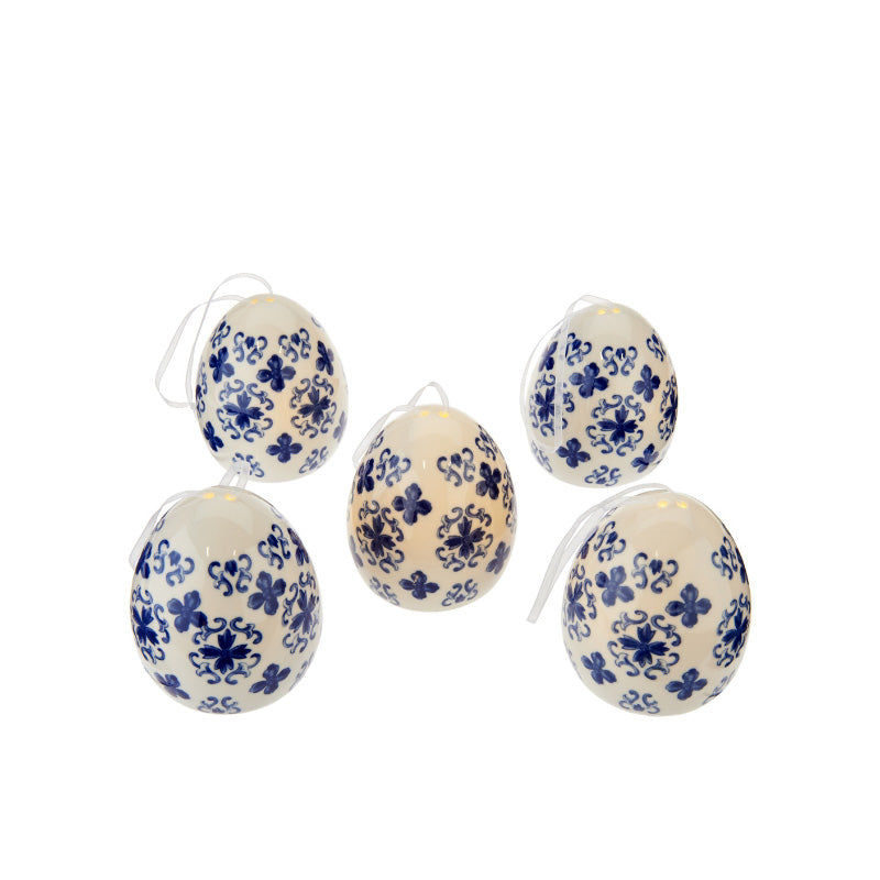 Set Of 5 Illuminated Translucent Porcelain Eggs