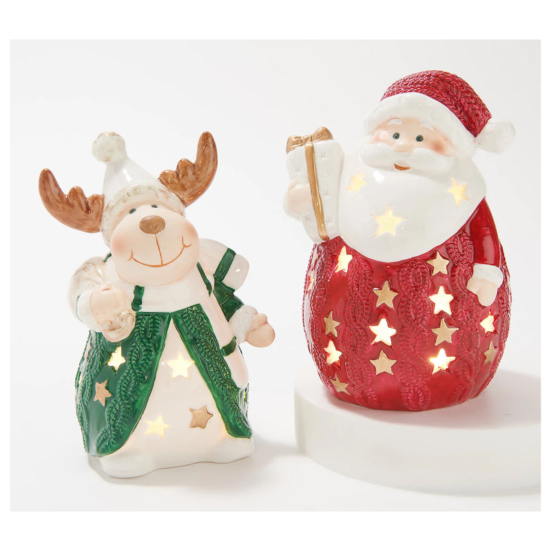 Set of 2 Light Up Porcelain Figures Santa / Reindeer