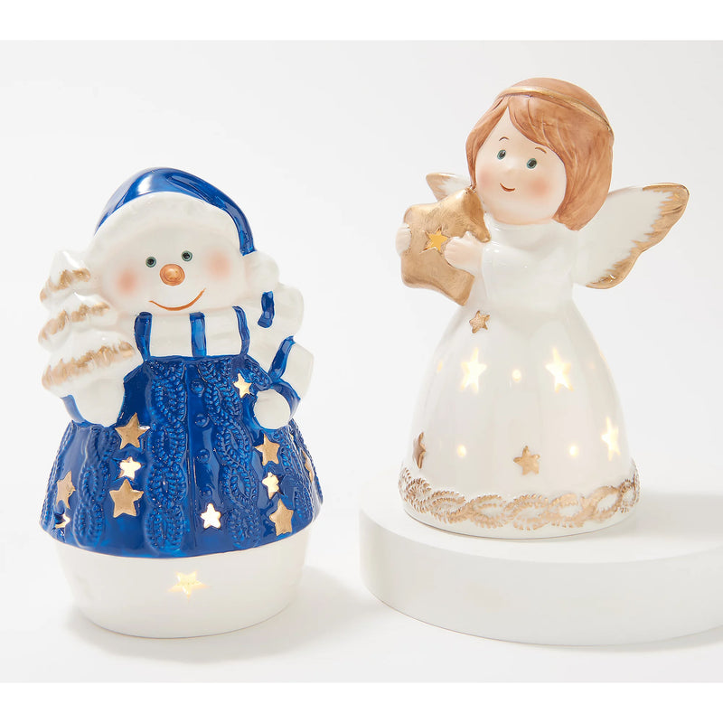 Set of 2 Light Up Porcelain Figures Snowman / Angel