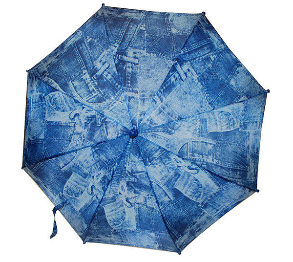 Umbrella w/Wood Hook Handle - Jean Print