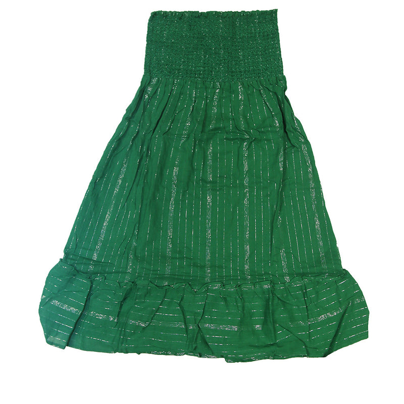 Tube Top Summer Dress- Green W/ Silver Pinstrips