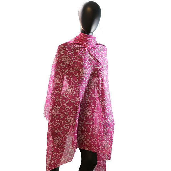 Women's Bathing Suit Cover Up Long Shirt Fuchsia Floral