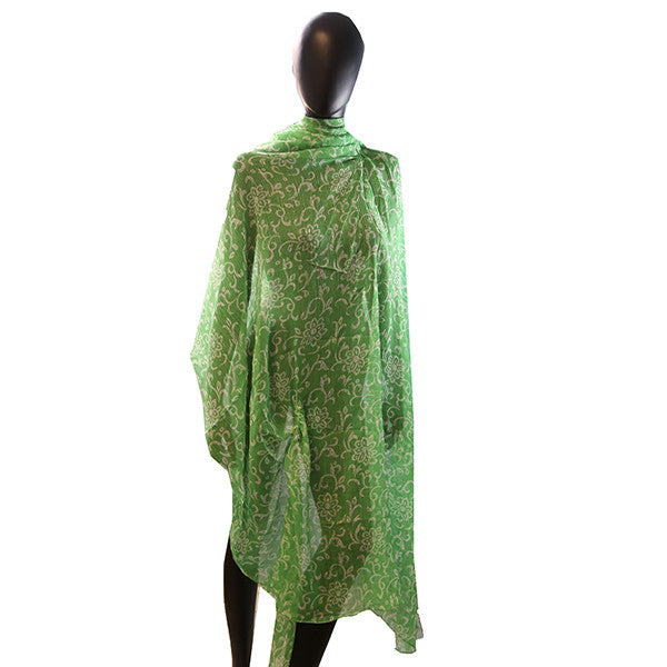 Sheer Long Skirt Bathing Suit Cover Up (Green Floral) - Retail $24.00