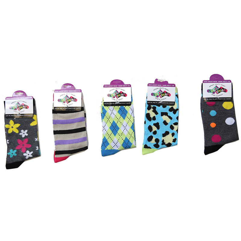 Sock Swap Assorted Mix n Match Socks (Priced By Pc / Sold By 96 Pc Display) - 48 x Youth / 48 x Adult