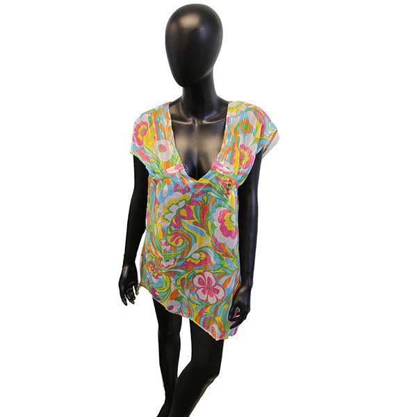 Sheer Bathing Suit Cover Up w/Bustline Drawstring (Multi-colors Floral Prints)