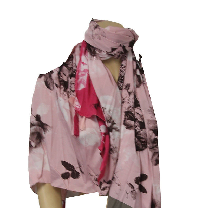 Anna & Ava Scarf Color Fuchsia , Black , White