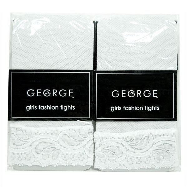 George Girls Fashion Tights (White w/White Lace Cuff) - Size 7-10