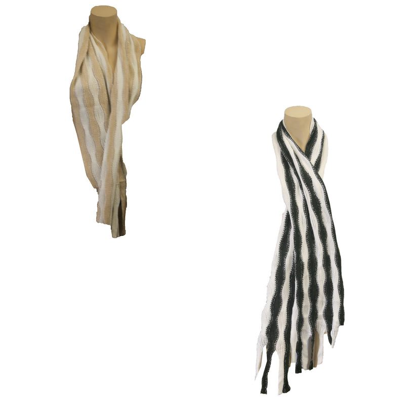 Muffler Wavy Stripe Scarf Assorted Colors
