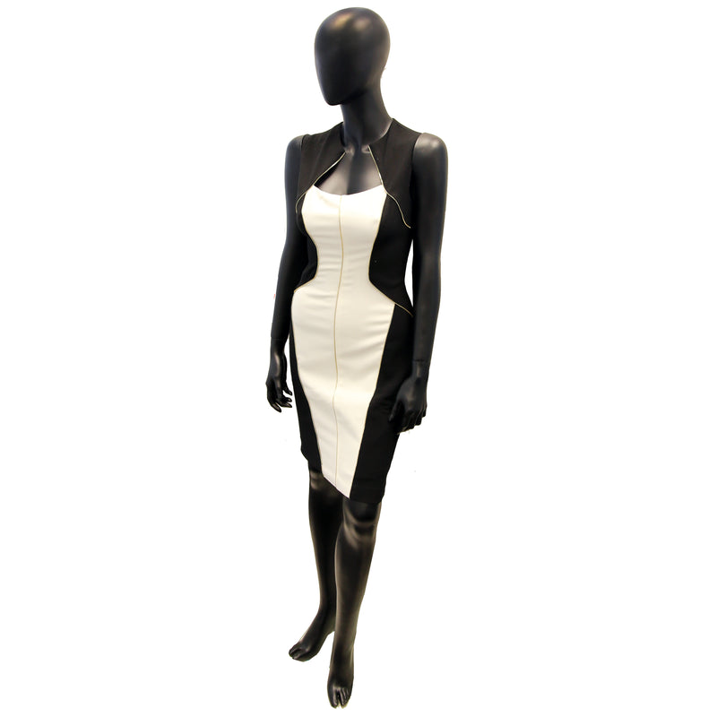 CACHE - Black And White Dress With Gold Zipper (BELGT)