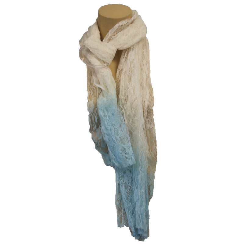 Cejon Light Weight Day Wraps - Assorted Styles & Colors - ( Light Blue + White Tye dye Lace Wrap / Red + White Wrap