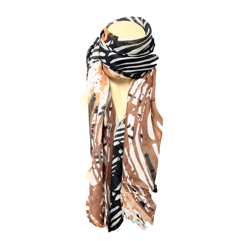 Mixed Brown Color Light Weight Scarf - One Color + Style Per Case