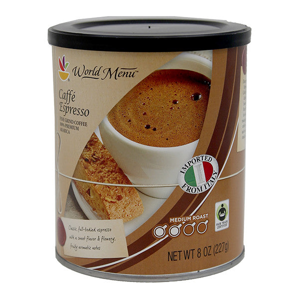 World Menu Caffe Espresso Fine Grind Coffee Net wt 8 oz - Best By - 12- 2016- Not for Sale in North East