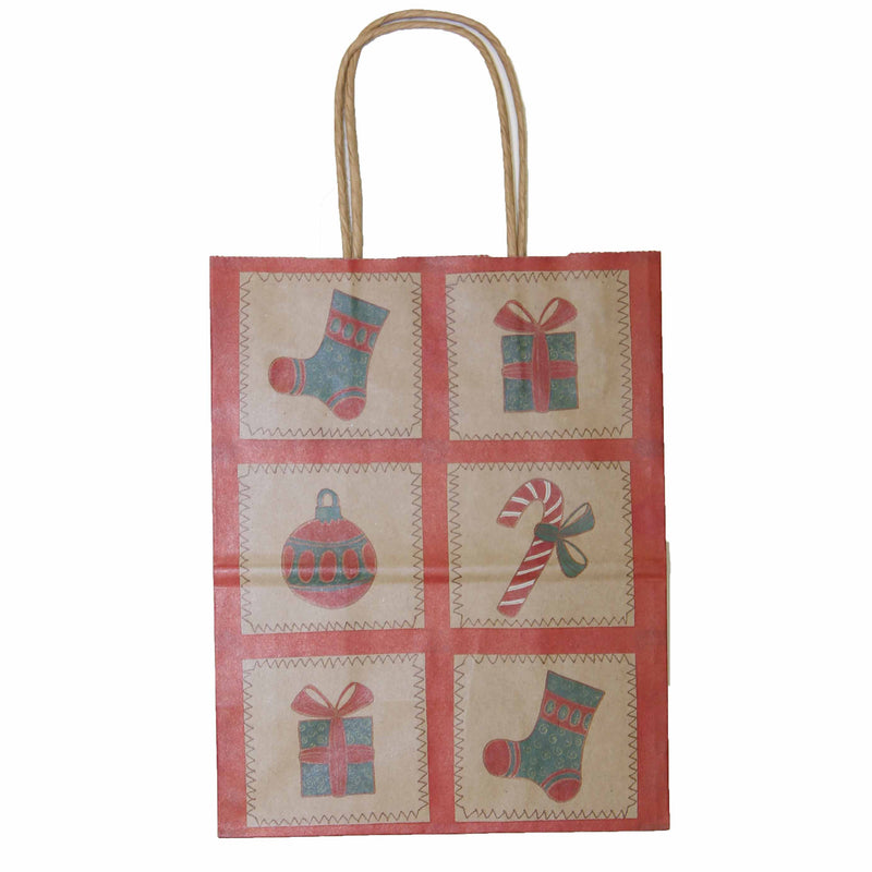 Christmas Paper Gift Bag Twist Handle -  Kraft Squared