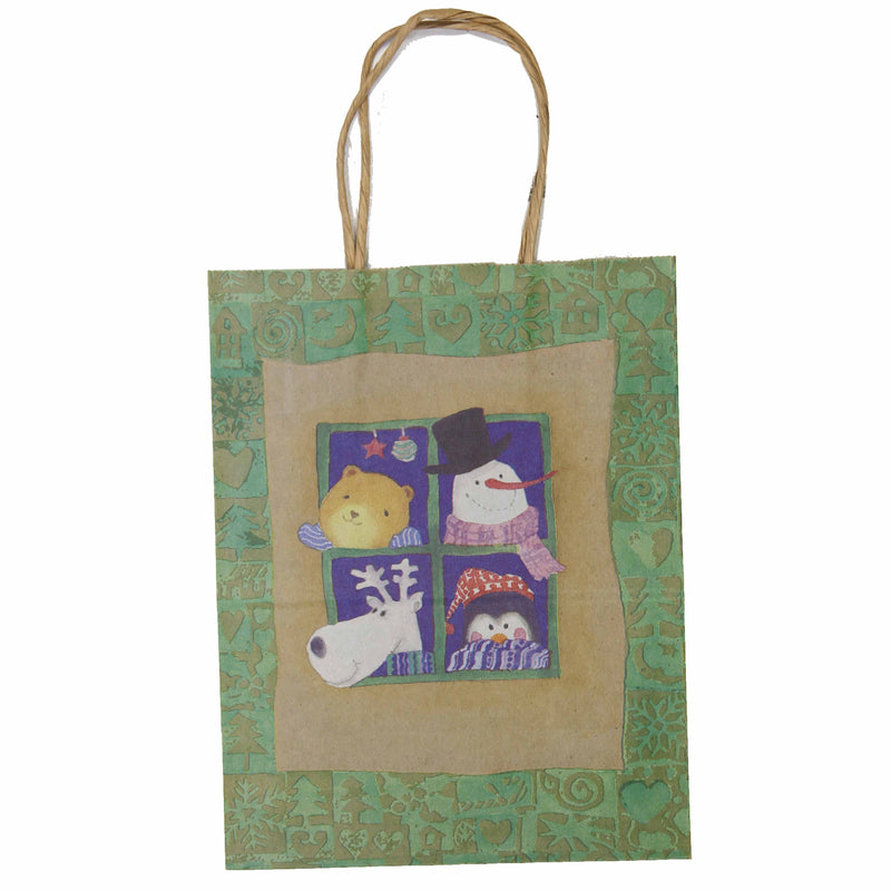 Christmas Paper Gift Bag Twist Handle - Cub Critters