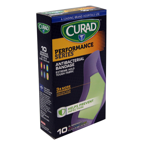 Curad Performance Series Antibacterial Bandage XL 6-Colors 10 Ct EXP - 01/2017