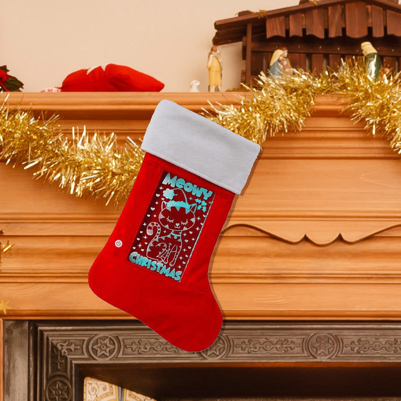 Meowy Christmas Light Up Holiday Stocking Multicolor Lights With 3D Effect Batteries Installed