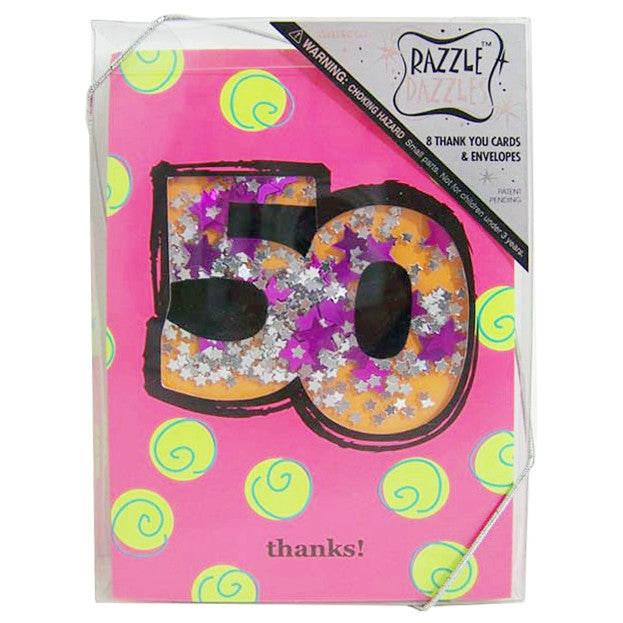 50th Birthday Shaker 8 pk Thank You Cards and Envelopes