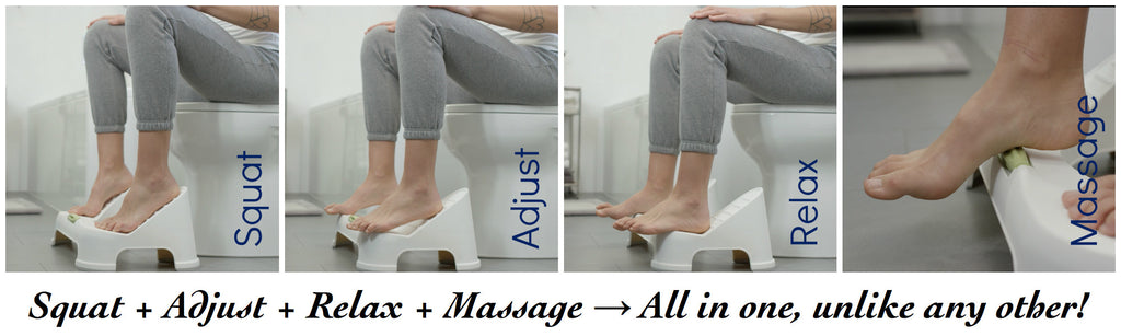 TURBO stool: easy squat → adjustable squat → relax sit → massage