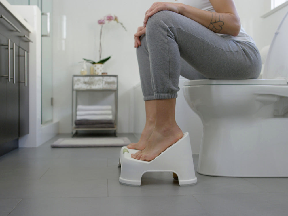Sitting on the TURBO™ Toilet Footstool Toilet Step Stool