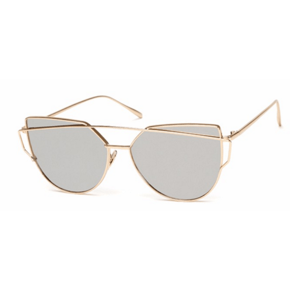GOLD & SILVER MIRROR LENS CATEYE - kittbae