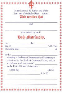 Certificate of Holy Matrimony