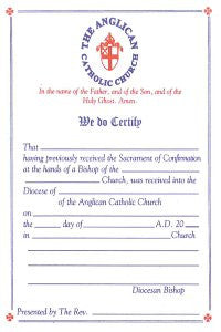 Certificate of Reception