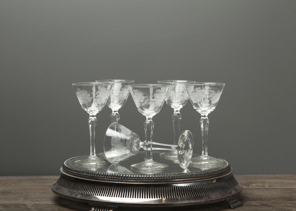 Vintage Etched Tall Crystal Ice Wine Glasses