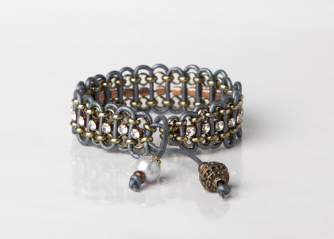 Gray Leather Woven Bracelet