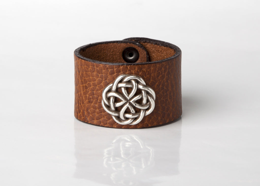 Celtic Circle Leather Cuff