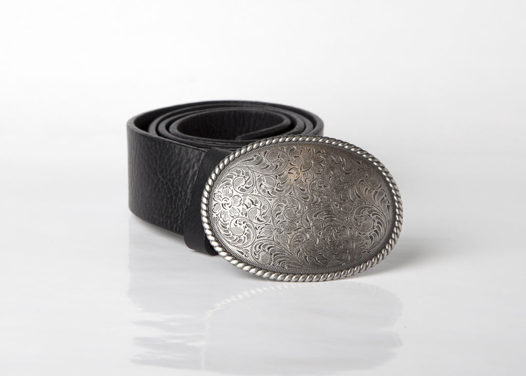 Oval Buckle Leather Belt