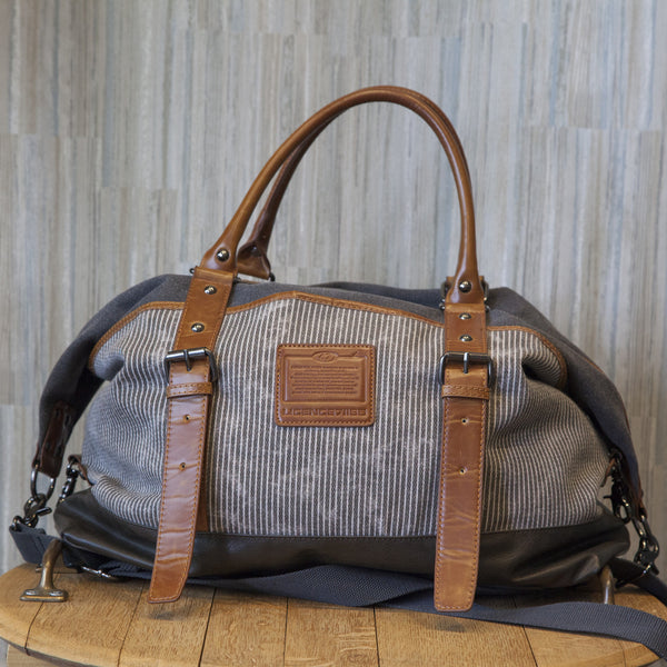 Leather and Canvas Licence Duffle Bag
