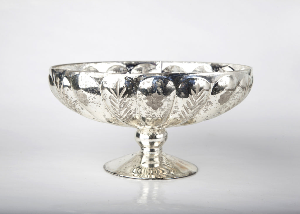 Mercury Glass Etched Pedestal Compote