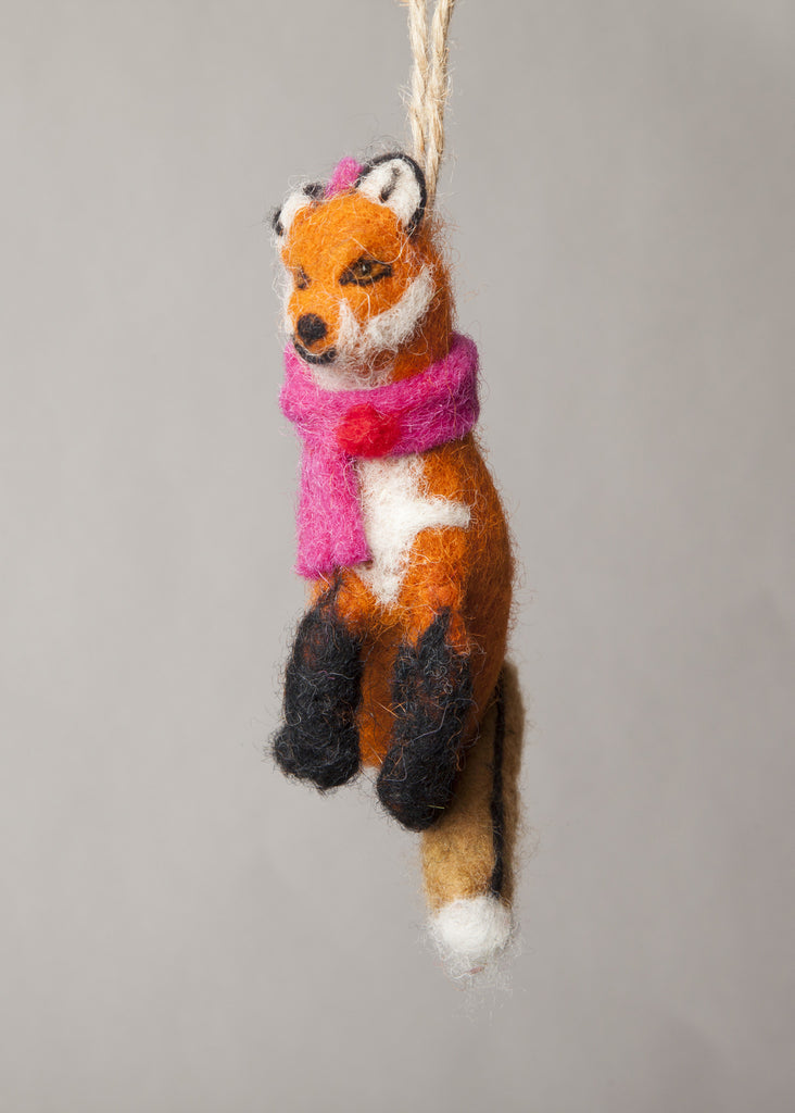 Handmade Felted Fox Ornament